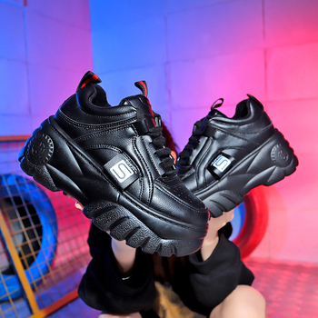 Hight Increase Ulzzang Women Casual Shoes Woman Sneakers Platform Wedges High Heels Flats Loafers Ladies Creepers Trainers 1