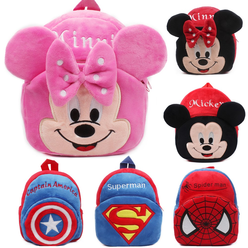 Mickey Mouse Bag Cartoon Kids Plush Backpack Toy Mini School Children's Gifts Kindergarten Boy Girl Mochila Baby Student Bags