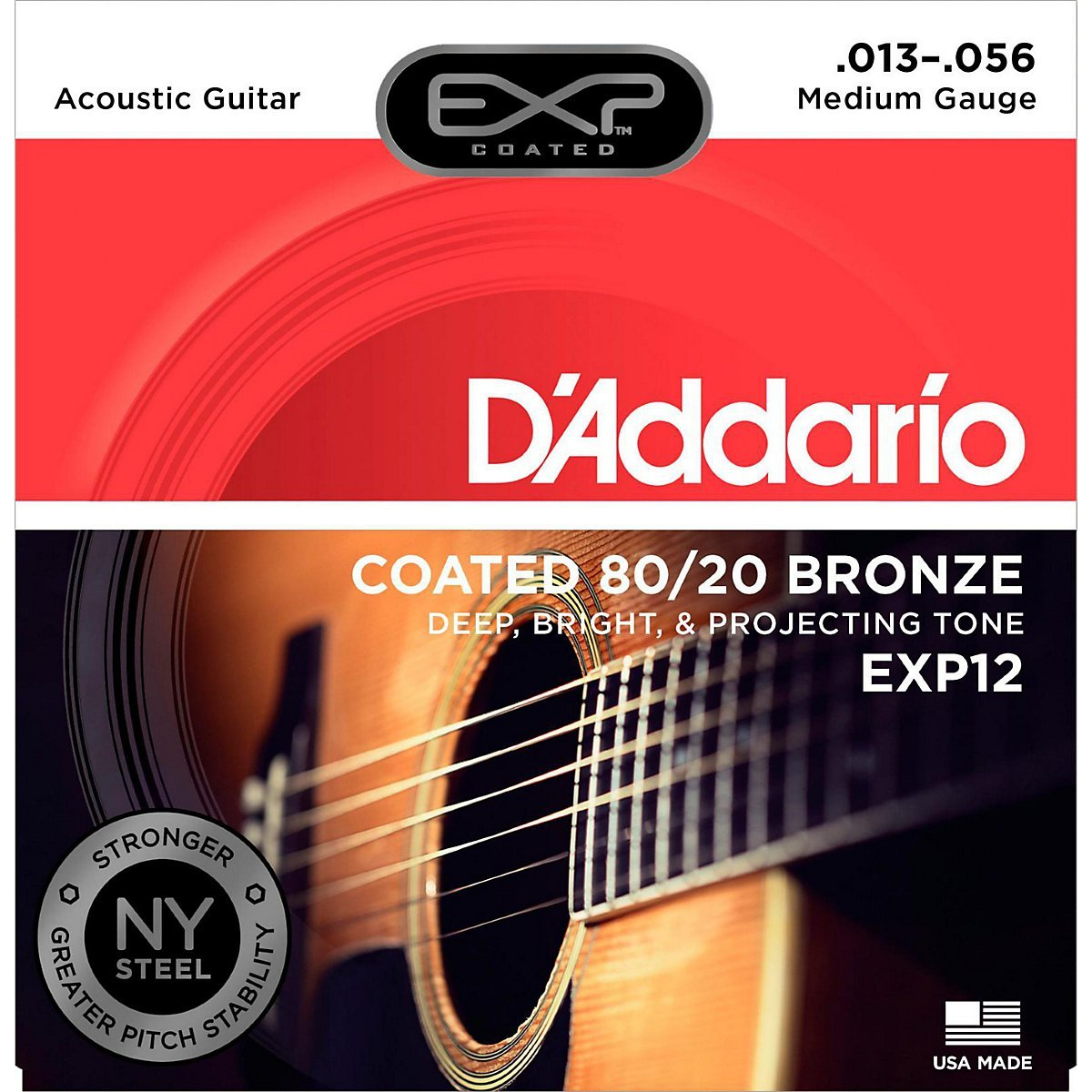 DAddario EXP12 with NY Steel 80/20 Bronze Acoustic Guitar Strings, Coated Medium, 13-56