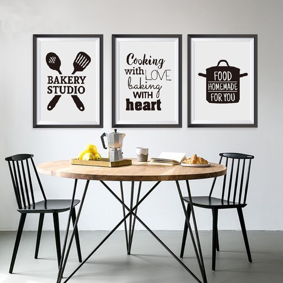Sure Life Europe Black And White Cooking Words Canvas Paintings Printing Wall Art Pictures Poster For Dining Room Home Decor Painting Calligraphy Aliexpress