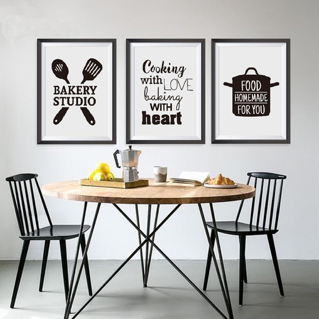 Sure Life Europe Black And White Cooking Words Canvas Paintings