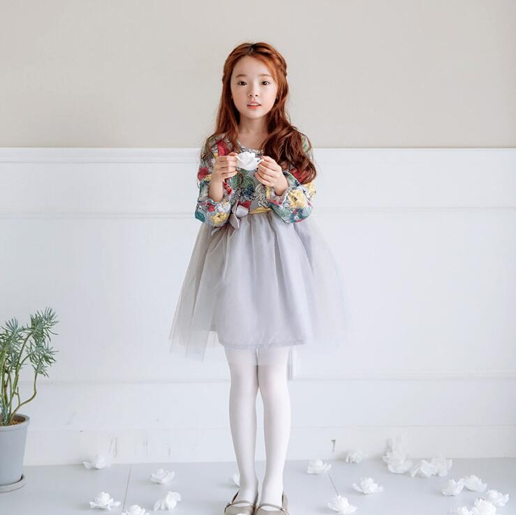 Beautiful Cute Girl Floral Dress Children's Clothing 2017 New Autumn Kid Casual Flower Printed Cotton Tutu Girls Dress