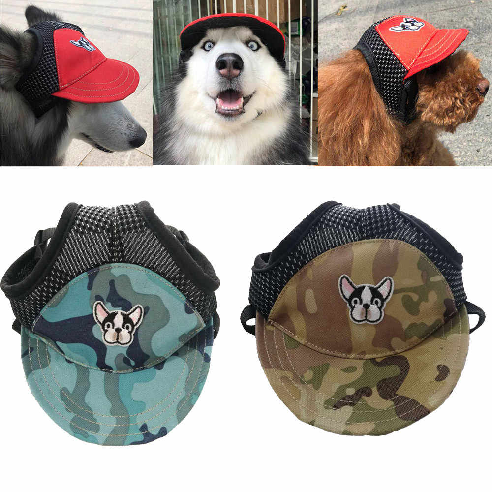 92702ff3 Pet Cat Dog Hat Summer Baseball Hats Adjustable Canvas Cap Outdoor Camo  Sunproof Accessories For Small Large Dogs S M L F627