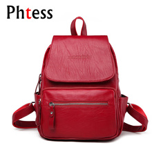 2018 Women Leather Backpacks Vintage Shoulder Bags Ladies Bagpack Travel Female Backpacks For Girls Preppy Sac