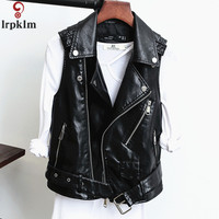 2018 Spring New Leather Vest Women PU Sleeveless Leather Vest Large Size Chalecos Para Mujer Chaquetas Invierno Mujer CH043