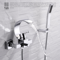 HPB high quality brass polish chrome waterfall tub faucet with handshower hot and cold water bath tap badkraan HP5015