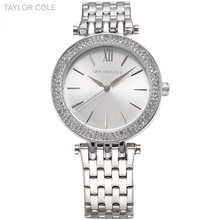 Cole Taylor Prata Lady Cristal Rhinestone Bracelet Moldura de Aço Japão Relógio De Quartzo Analógico Mulheres Vestido Relógios Casual Presente/TC003