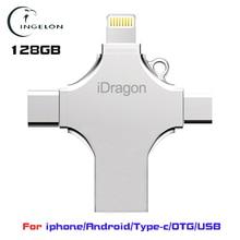 Ingelon 4in1 mini usb flash drive 128GB pendrive multi operate flash reminiscence stick otg type-c micro usb for smartphone USB 128gb