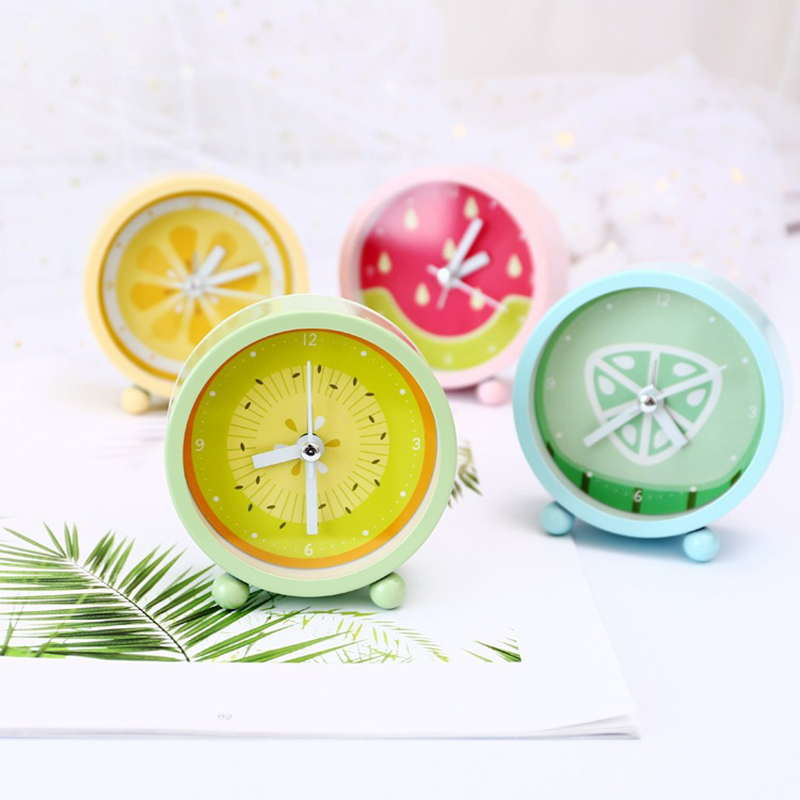 Household Students Mini Alarm Clock Fresh Lemon Fruit Desktop Clock Twin Bell Silent All ...
