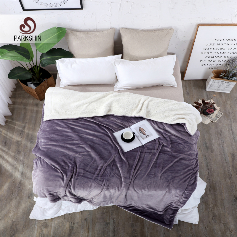 Parkshin Throws Flannel Blanket Winter Thick Lamb Cashmere Blanket  Comforter Quilt Bed Sofa Cover Sleeping Adult Bedspreads d050d6b0e