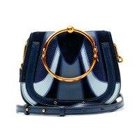 2017 Ring Handle Luxury Handbags Women Bags Designer Rivet Hoop Saddle Genuine Leather High Quality Crossbody