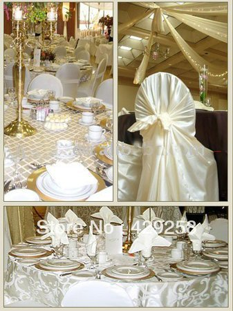 chair covers ivory floral rocking cushions free shipping 100pcs white color universal satin cover self tie wedding decoration for party