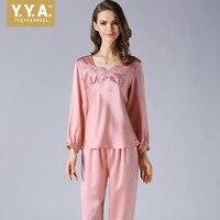2019 новый роскошный женский 100% Шелковый пижамный комплект, элегантный кружевной топ из двух предметов, Ночная атласная Домашняя одежда, удоб