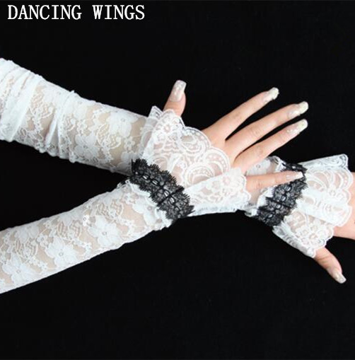 Hollow Out Lace Women Long Sunscreen Gloves Sun Protection Driving Gloves Summer Arm Sleeves Arm Gloves