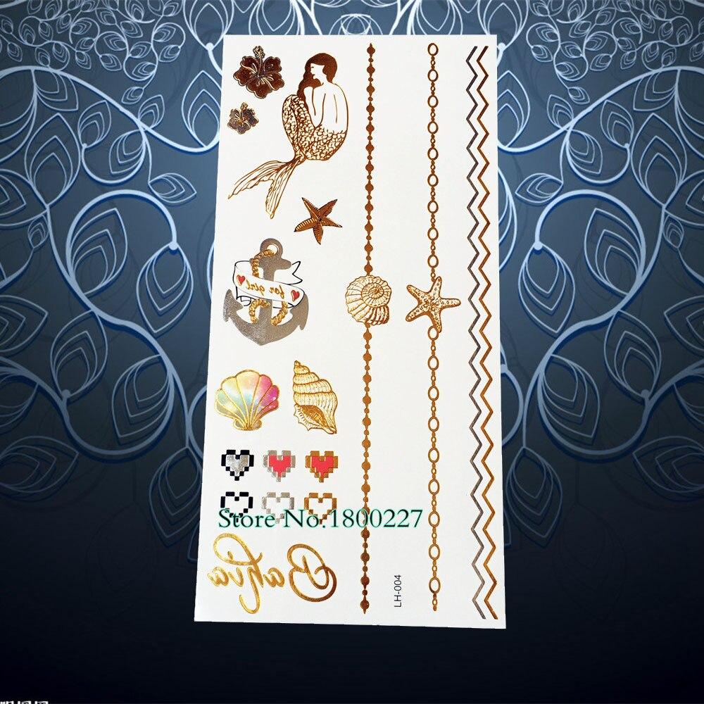 1 pc flocon de neige chaîne bracelet conception or brun de tatouage