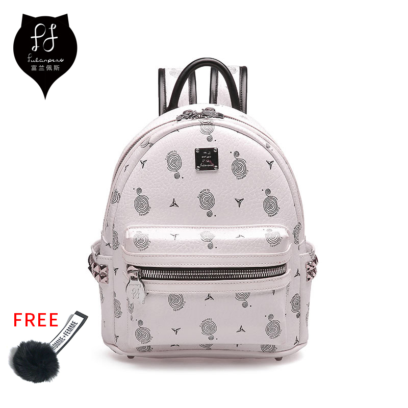FULANPERS Mini Backpack Female School Bags small Backpack For Teenage Girls 2018 Fashion Women Backpack Bags Ladies White&Black designer bags famous brand women bags 2016 small rivets backpack tide female school bags for teenage girls mini backpack