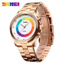 SKMEI Fashion Simple Men Quartz Wristwatches Colorful Dial Waterproof Watches LED Light Watch relogio masculino 1491