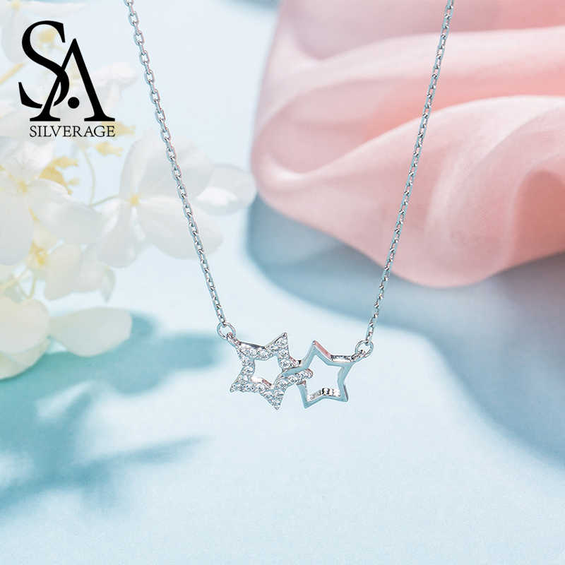 SA SILVERAGE 925 Sterling Silver Moon Star Pendant Necklaces For Women Chokers Necklaces Fine Jewelry Silver Chain Necklace
