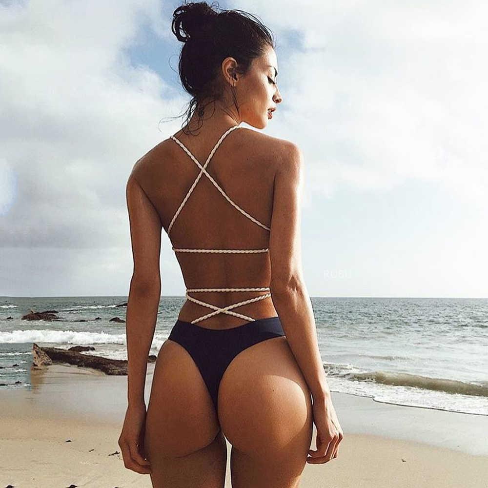 apagado Agencia de viajes Mierda  Bañador Sexy de una pieza para mujer, Monokini negro con Espalda  descubierta, Trikini, Tanga de Bikini, traje de baño de estilo vendaje,  2020|suit suit|suit womensuit one piece - AliExpress