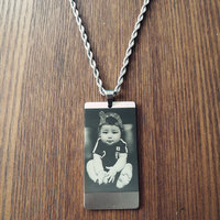 Engraved Dog Tag Personalize With Your Own Photo Text Etched Pendant Necklace Men Jewelry Dropshipping
