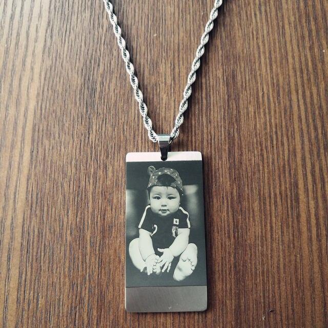 Online-Shop Männer Eingraviert Familie Foto Anhänger Halskette ...