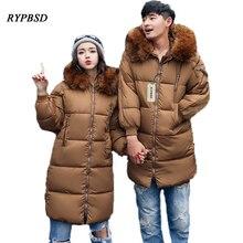 3 Colors Long Parka Coat Male Winter Couples Men Long Coat Cotton Hooded Large Collar Zipper Men Cotton Padded Jacket