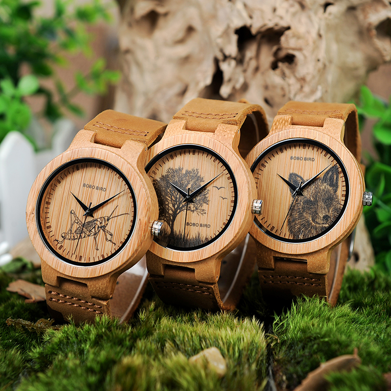 BOBO BIRD Bamboo Wood Watches Men With Image Printing Images Optional Casual Clock V-P20