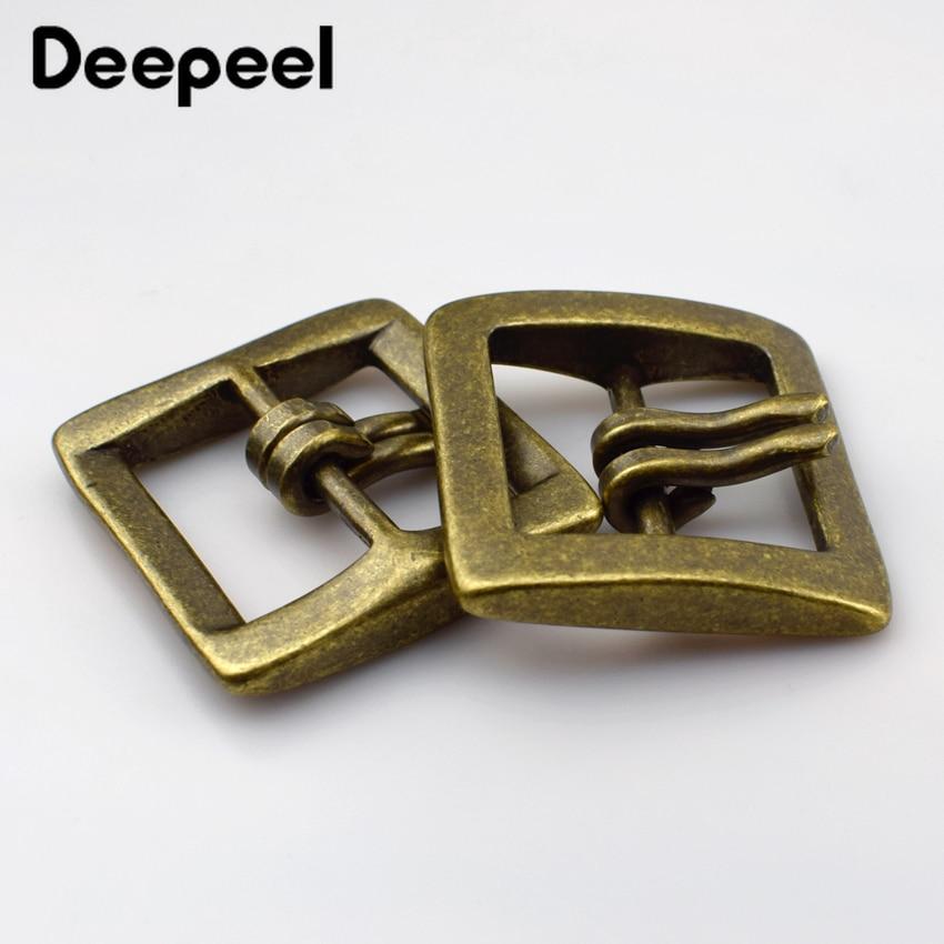 Deepeel 1pcs 40mm Retro Pure Copper Belt Buckle Leather Men Ladies Pin Buckles Belt Buckle Double Needle Buckle DIY Crafts F1-82
