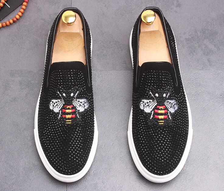 4 Abeille Tôle Loup 2 Tigre De Designer Strass Chaussures Mocassins Hibou Broderie forme 3 Plate Hommes Pageant Robe 1 Luxe H7Xww0