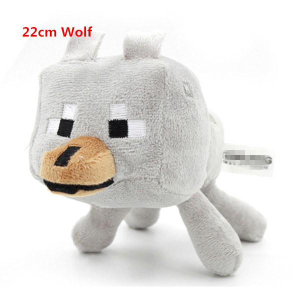 Hot Sale Minecraft Wolf Toys Minecraft Plush Toys For Kids Christmas Gifts Game Wolf Doll 2015 hot 24 60cm huge big minecraft ender dragon plush soft black minecraft pp cotton minecraft dragon toys