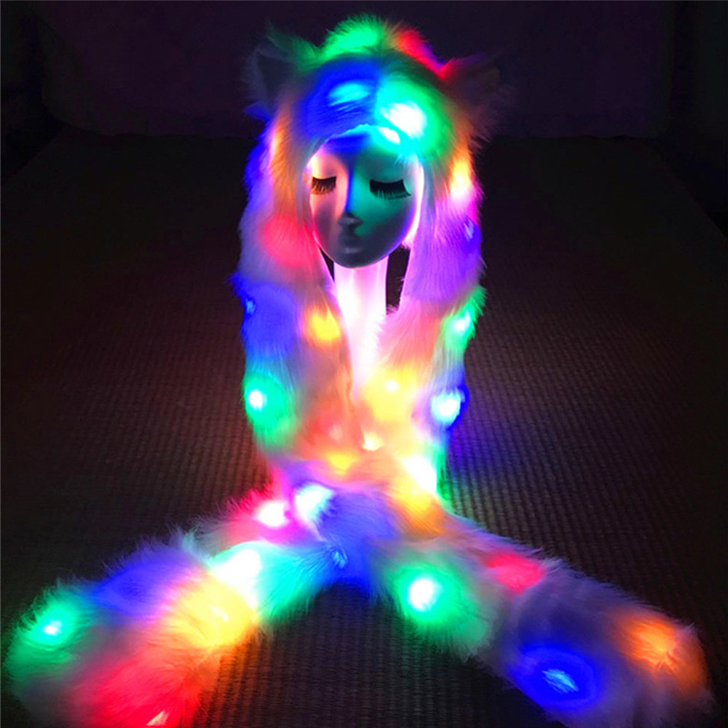 Novelty Led Animal Hat Scarf Gloves Winter 3 In 1 Glowing Furry Hoodie Headwear Kawii Girls Cosplay Luminous Animal Hat