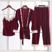 Automne hiver Pleuche pyjamas ensemble femmes à manches longues hauts Long pantalon vêtements de nuit 3 pièces vêtements de maison femme vêtements de nuit
