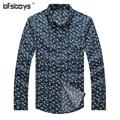 Hot Sales Clothes New 2016 Long Sleeve Lapel Cotton Material Man's Shirts Blue Ginger Color Plus Size M~5XL 8861