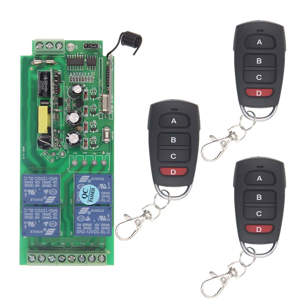 AC 85V-265V 110V 220V 4 Channel 4CH RF Wireless Remote Control Home Switch System Receiver + Transmitters, 315 433.92 MHz