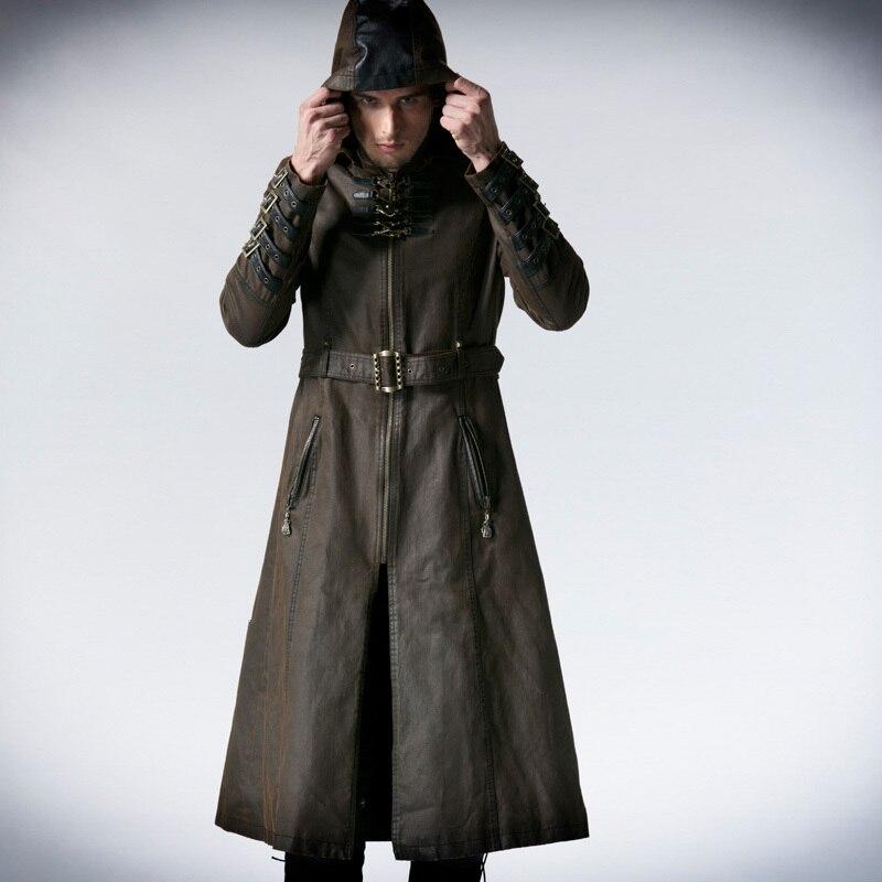 Человек Кофе темно саржа длинное пальто куртка в стиле панк модные красивые с капюшоном Y550