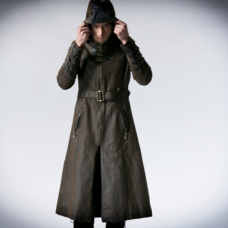 Man Coffee Dark Twill Long Coat Jacket Punk Fashion Handsome Hoodle guerre moderne lego