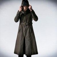 Man Coffee Dark Twill Long Coat Jacket Punk Fashion Handsome Hooded Y550