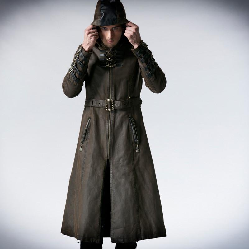 남자 커피 어두운 능 직물 롱 코트 재킷 펑크 패션 잘 생긴 후드 y550-에서재킷부터 남성 의류 의  그룹 1