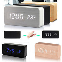 New Modern Wooden Wood USB AAA Digital LED Alarm Clock Calendar Thermometer Gift Alarm Clocks