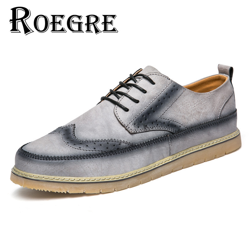 ROEGRE New Fashion 2017 Spring Autumn Shoes Men's Lace Up Brogue Wingtip Casual Flats Leather Men Shoes Black Grey Brown free shipping 2017 new black brown autumn and winter full grain leather casual shoes men s fashion flats lace up shoes for men