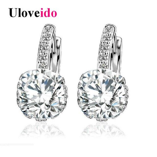 Uloveido White Costume Jewelry Women S Earrings With Stones Stud Earings Cubic Zirconia Zircon Brincos Earring Woman