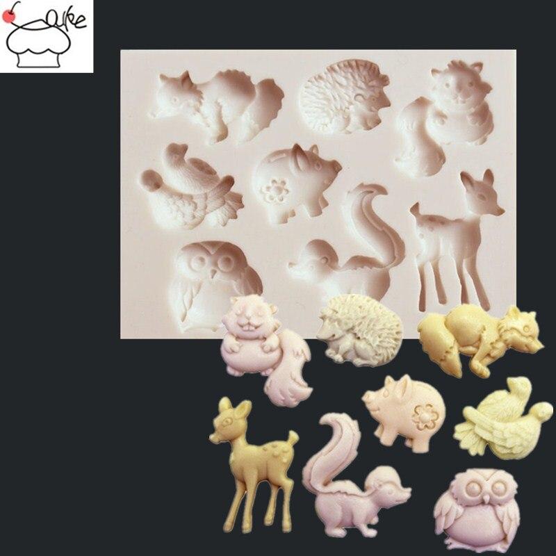 3D Écureuil Cerf Hibou Animal Silicone Moule Pâtisserie Gâteau Chocolat Outil