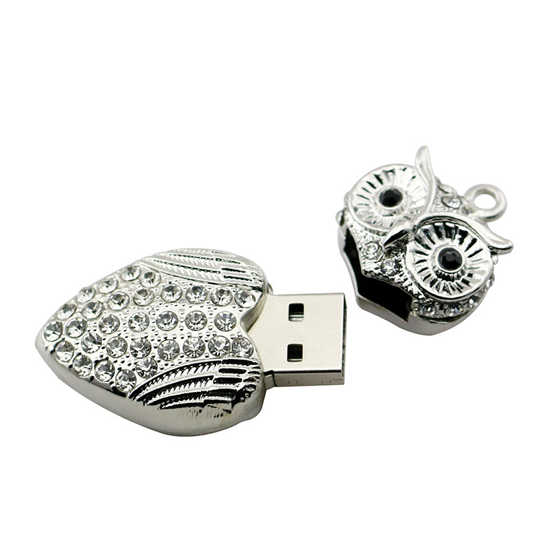 Animal USB Flash Drive Metal Diamond Owl Pendrive Nighthawk Pen Drive 4GB 8GB 16GB 32GB 64GB USB Memory Stick Gift With Necklace 6