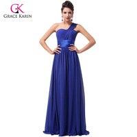 Elegant Stock One Shoulder Cheap Long Evening Dresses 2015 Chiffon Floor Length Formal Party Dresses Prom
