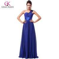 Elegant Stock One Shoulder Cheap Long Evening Dresses 2015 Chiffon Floor Length Formal Party Dresses Prom