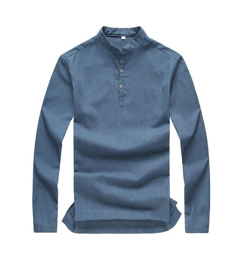 High Quality 2015 Mens Pullover Shirt Long Sleeve Linen