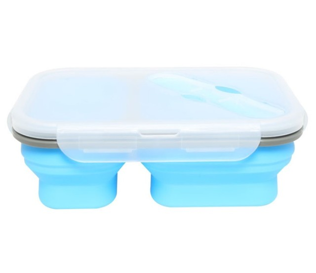 900ml Silicone Collapsible Portable Lunch Box 2 Cell Bowl Bento Boxes Folding Food Storage Container Lunchbox Eco-Friendly