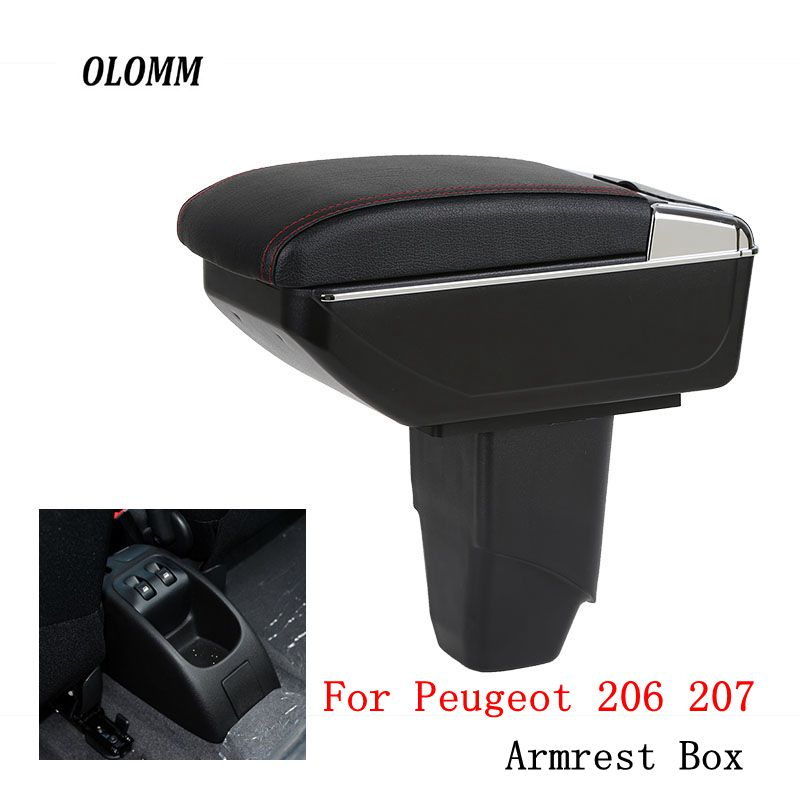 Armrest box For <font><b>Peugeot</b></font> 206 207 central Store content Storage box USB with cup holder ashtray car-styling interior accessories image