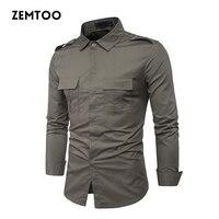 Men's Shirts Tactical Uniform 2017 Autumn British Style Men's Casual Long Sleeve Shirt Male Business Slim Fit Dress Shirt ZE0328