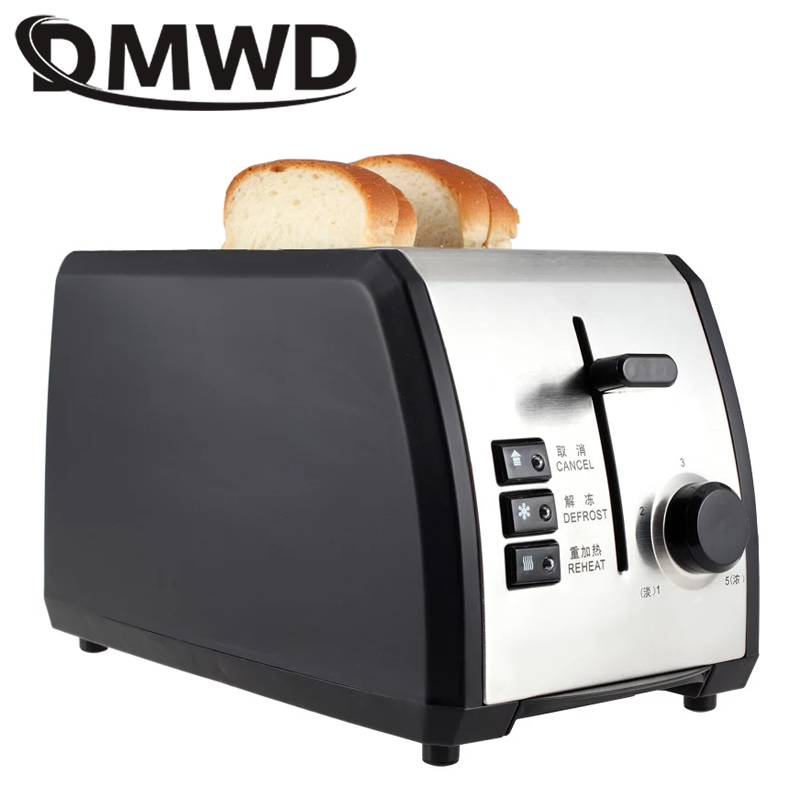 DMWD 2 Slices Stainless steel Automatic Bread Toaster Breakfast Toast Baking Machine Two Slots Sandwich Grill Oven 950W EU Plug